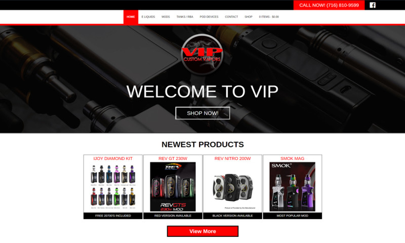 Minerva Web Development - VIP Custom Vapors | Ecommerce