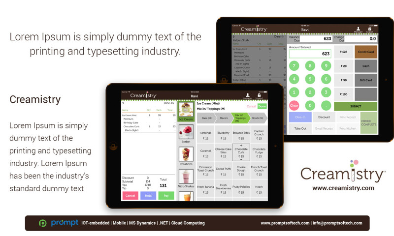Prompt Softech - Creamistry iPad POS