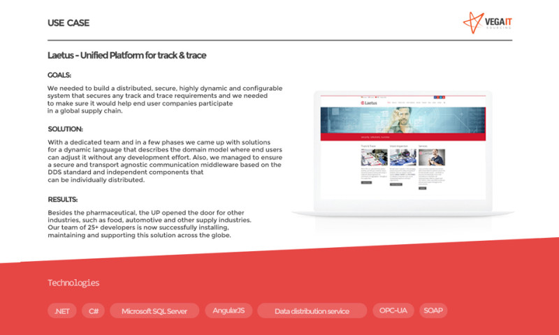 Vega IT Sourcing - Unified platform for Track & Trace