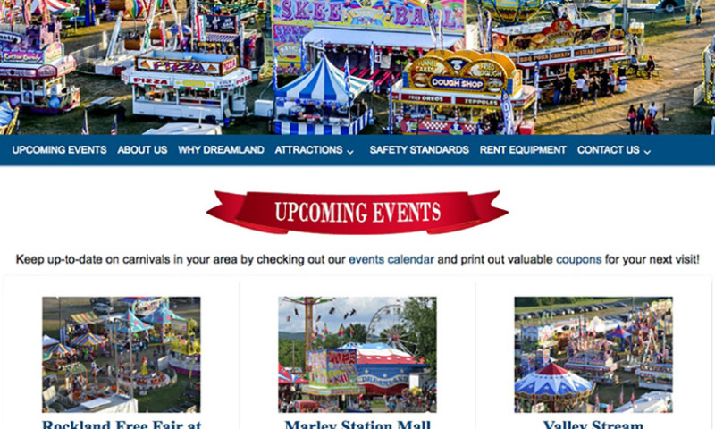 Public Relations and Marketing Group - Dreamland Amusements Website Design