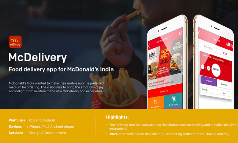 Robosoft Technologies - McDelivery - food ordering app for McDonald's India