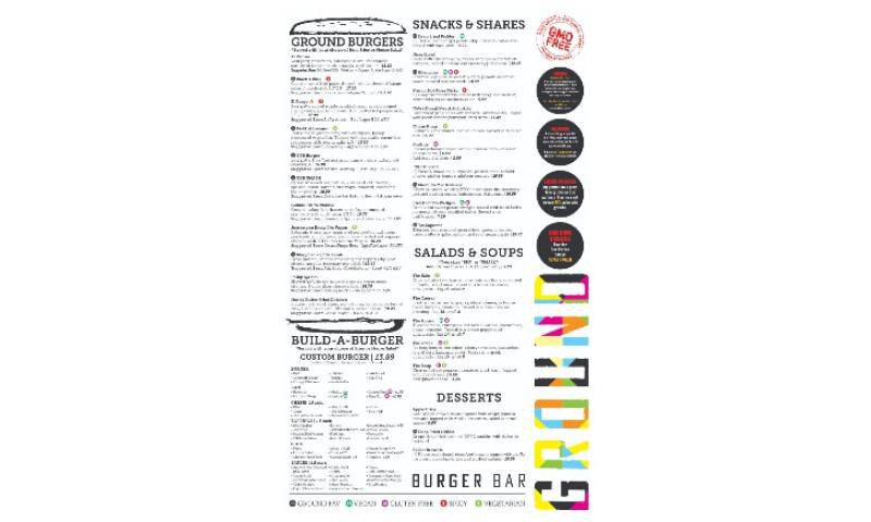 MARC Advertising Inc - Ground Burger Bar Menu
