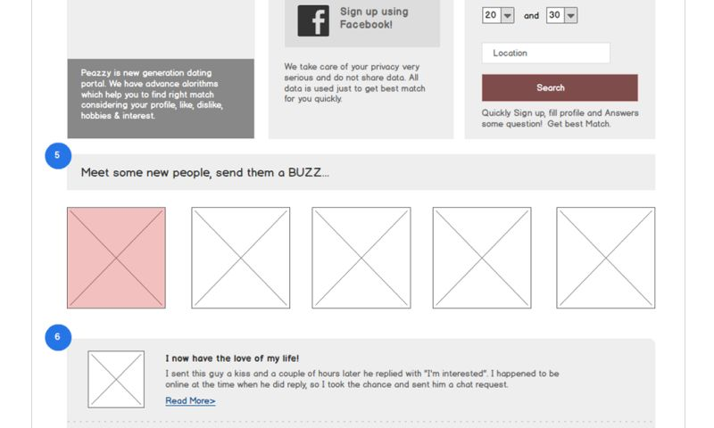 Techuz InfoWeb - Wireframe for Dating Website
