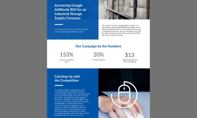 Reacher Digital Solutions - Increasing Google AdWords ROI for an Industrial Storage Supply Company