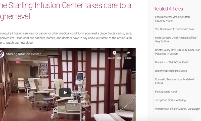 Miceli Productions, LLC - Starling Infusion Center Patient Care Video