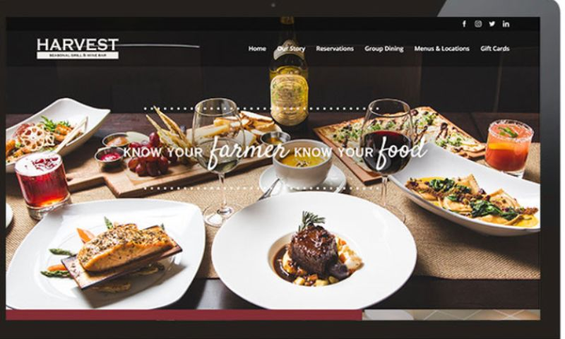 Elysium Marketing Group - Harvest Seasonal Grill and Wine Bar Website