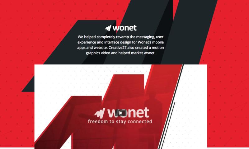 Creative27 - Wonet Android & iOS Mobile App Design, Website Design & Motion Graphics Video