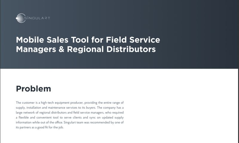 Singulart Systems - Mobile Sales Tool for Field Service Managers & Regional Distributors