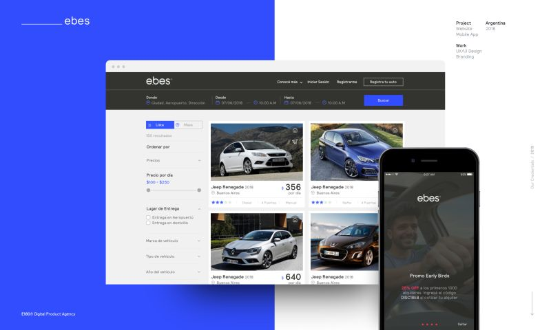 E180 Digital Product Agency - Ebes Rent your Car