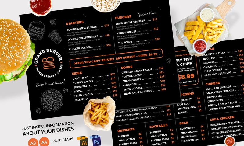 Artimization - Elegant Restaurant Menu Template Design