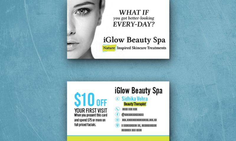 TechUptodate.com.au - iGlow Beauty Spa   Business card Design