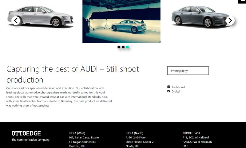 Ottoedge Services LLP - Capturing the best of AUDI – Still shoot production