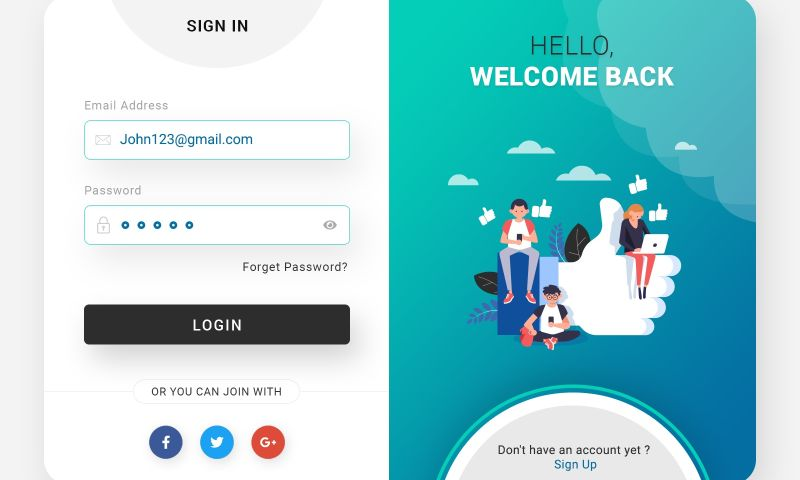 The One Technologies - Login & Signup Website Form