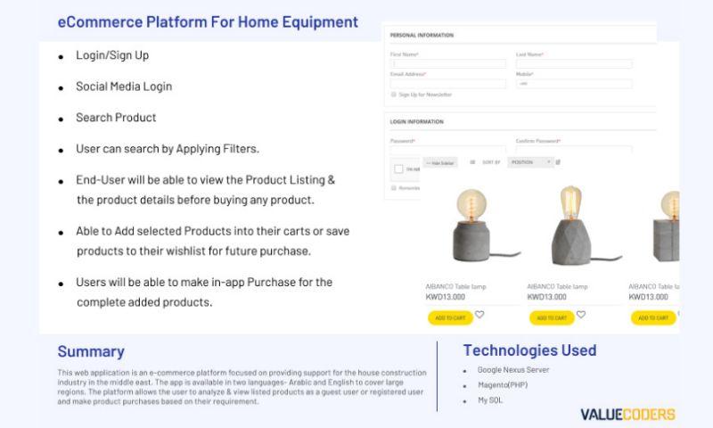 ValueCoders - ECOMMERCE PLATFORM FOR HOME EQUIPMENT