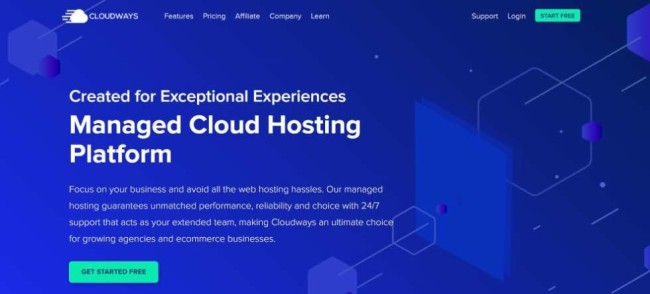 Cloudways home page screenshot as a cloud hosting provider