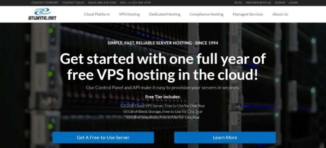 Atlantic.net screesnhot as one of the hosting providers