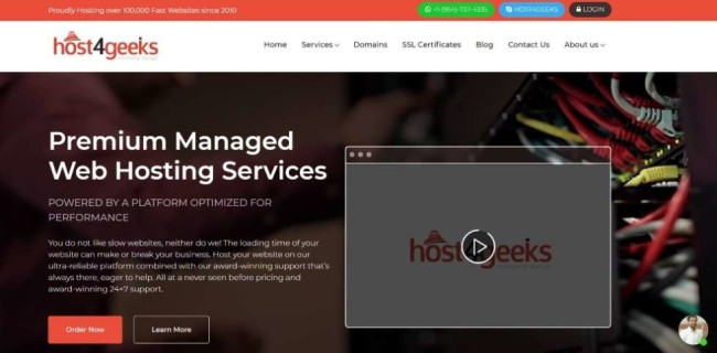 Host4Geeks home page screenshot as one of the top hosting providers