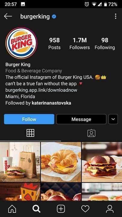 Burger King - dark mode on Instagram