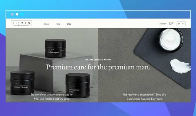 Screenshot of the Lumin website