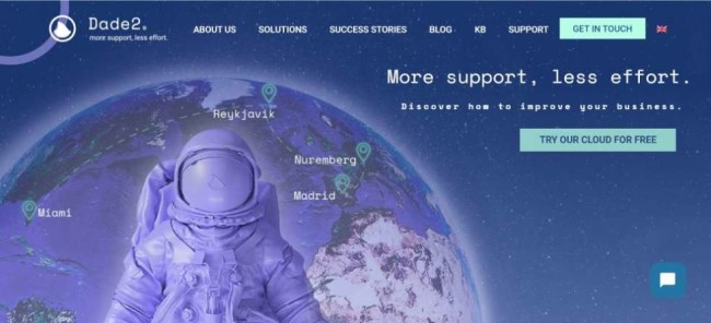 A screenhot of Dade2 homepage as one of the cloud hosting providers