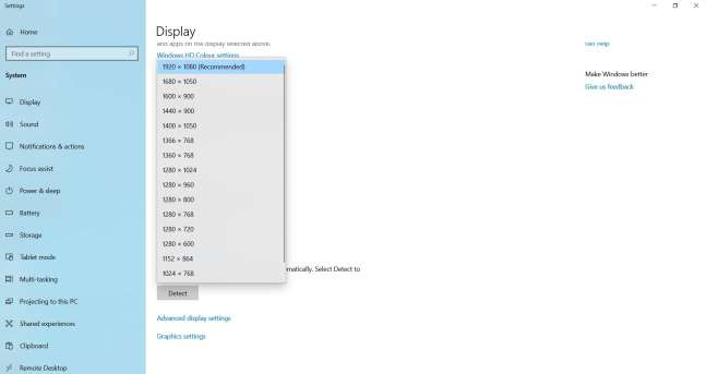recommended display resolution