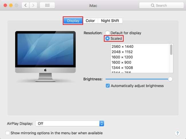 Setting Mac screen resolution