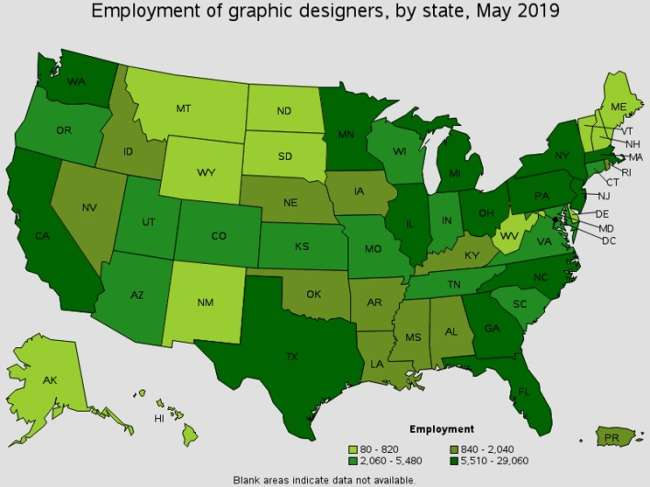employment of graphic designers in the US