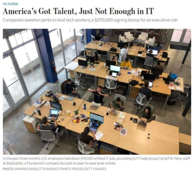 The Wall Street Journal article talking about the US shortage of IT talent which impacts the rates of custom web development