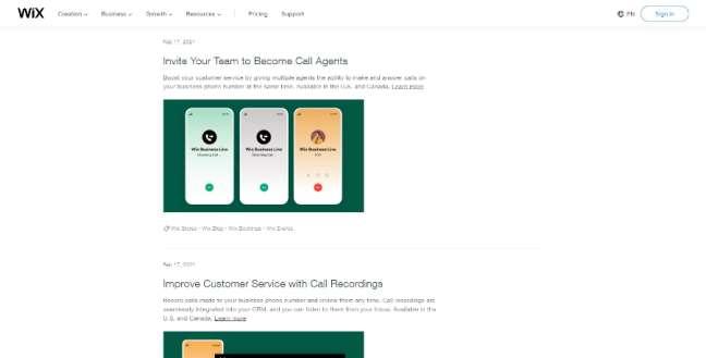 A screenshot of Wix' update center