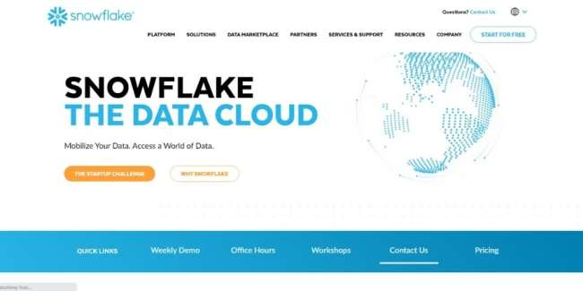 online database software: Snowflake