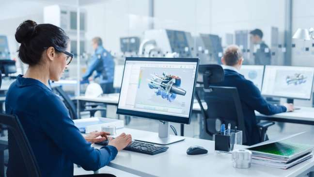 A designer using 3D printer modelling software