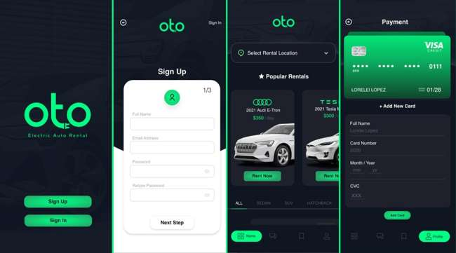 best UI design: Oto Electric Rental by Lorelei Lopez