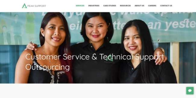 Customer service outsourcing companies: Peak Support
