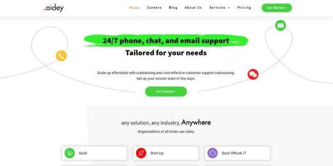 Customer service outsourcing companies: Aidey