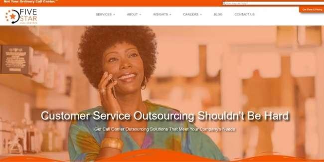 Five Star Call Centers website