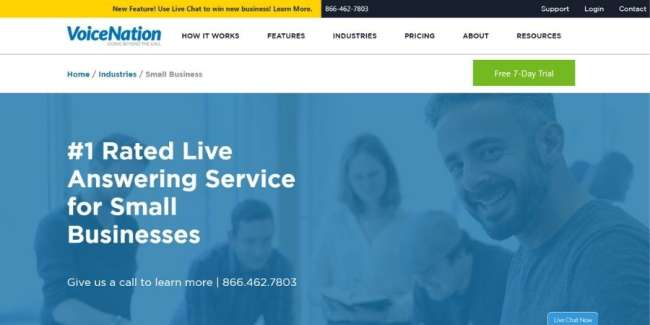 Answering services for small businesses: VoiceNation