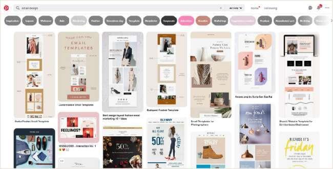 email design inspiration platforms: Pinterest