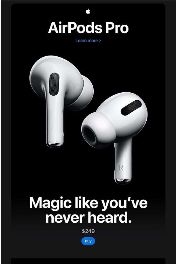 email design inspiration: product promo email campaign examples - Apple AirPod Pro