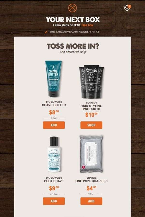email design inspiration: upselling email campaigns: Dollar Shave Club