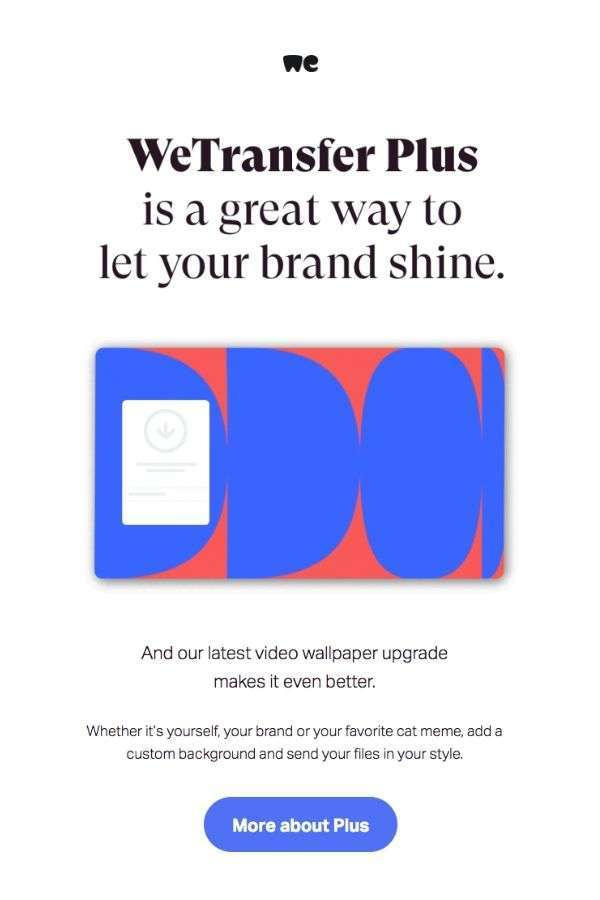 upselling email campaigns: WeTransfer