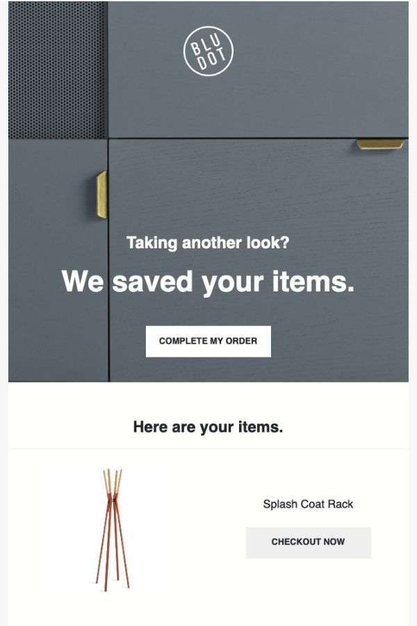 cart abandonment recovery email design examples: BluDot