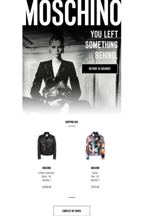 cart abandonment recovery email design examples: Moschino