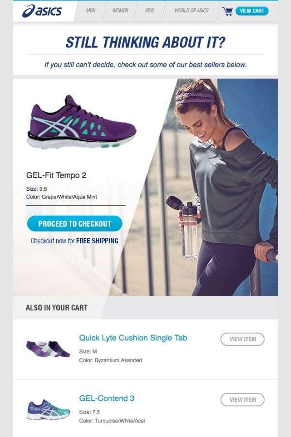 cart abandonment recovery email design examples: ASICS