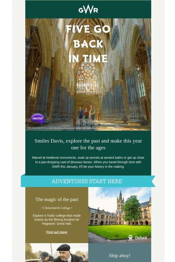 newsletter email campaign examples: Great Western Railway