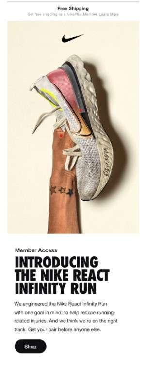 Nike membership email example