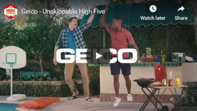 YouTube pre-roll ad examples: Geico (Unskippable Elevator)