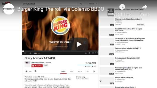 YouTube pre-roll ad examples: Burger King