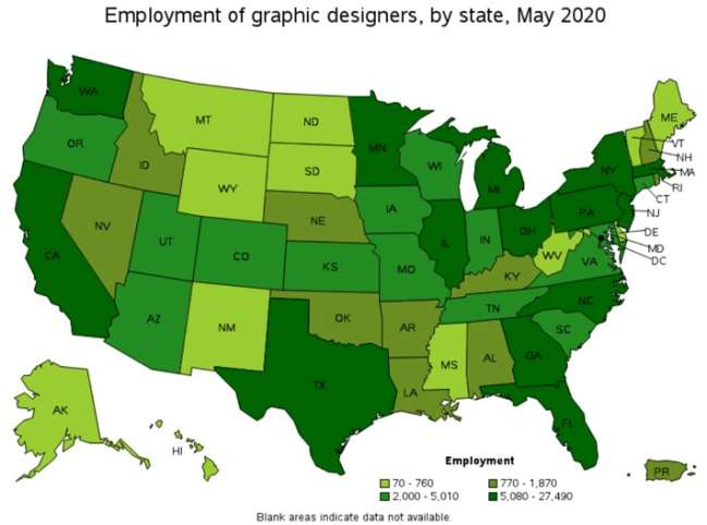 New York logo design companies: employment of graphic designers by state