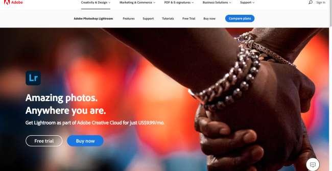photo organizer software: screenshot of Adobe Lightroom homepage