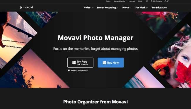 photo organizer software: screenshot of Movavi products page – photo organizer